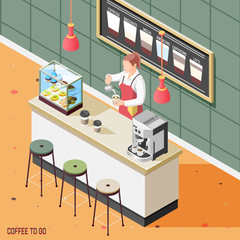 Street Coffee Isometric Background
