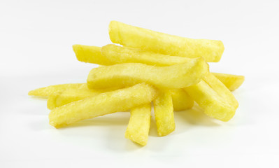 French Fries on white background, Close up..