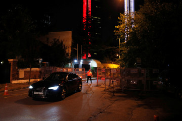 A car leaves from Saudi Arabia's Consulate in Istanbul
