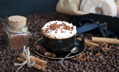 Coffee with cinnamon sugar and cream
