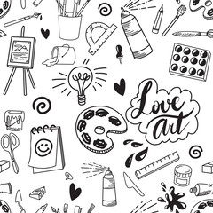 Seamless art supply illustration artist doodle background pattern