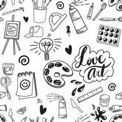 Seamless art supply illustration artist doodle background pattern