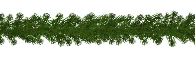 Green Christmas border of pine branch, seamless vector isolated on white background. Xmas garland de