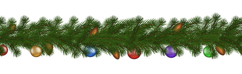 Green Christmas border of pine branch, cone and ball, seamless vector isolated on white background.