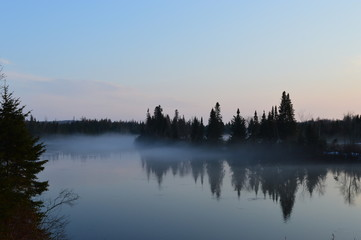 Poster Morning with fog River in fog