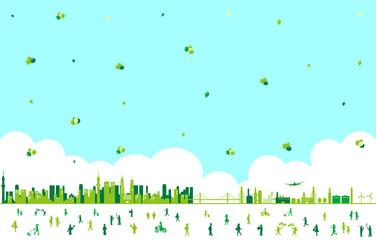 都市 人物 風船 風景