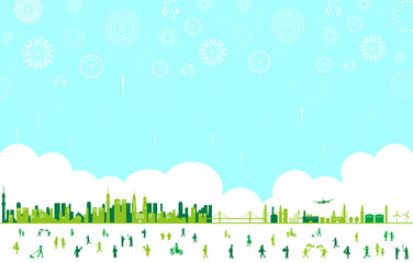 都市 人物 花火 風景
