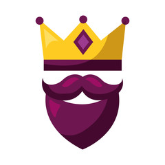 gold crown and beard mustache mask carnival costume party