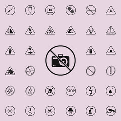no sign allowed to take pictures icon. Warning signs icons universal set for web and mobile