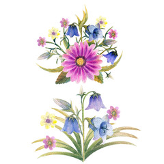 Watercolor. Field flowers. Flower illustrations. Bohemian bouquets of flowers, wreaths, wedding compositions, anniversary, birthday, Invitations greeting cards