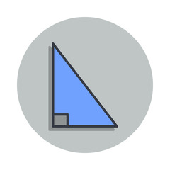 right triangle icon in badge style. One of web collection icon can be used for UI, UX