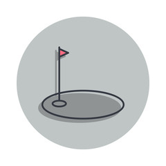 golf bowl icon in badge style. One of web collection icon can be used for UI, UX