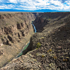Rio Grande Gorge, looking south from the US Hwy 64 bridge over the 800' deep chasm, which lies on the Taos Plateau in New Mexico