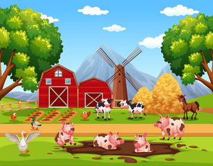 Rural happy farm animals