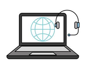 laptop computer headset world isolated image