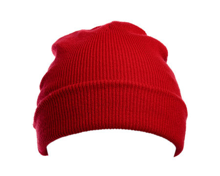 Red wool hat isolated on white background.
