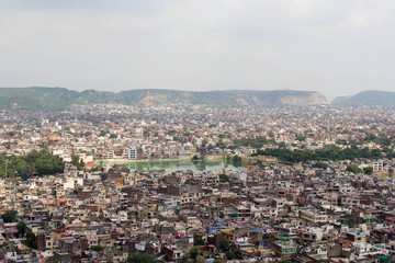 Jaipur city as seen from Nahargarh Fort on the hill.