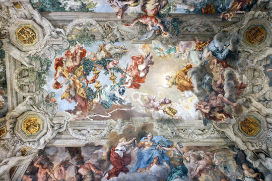 Painting on the ceiling of the Palazzo Barberini in Rome, Italy, with bees which are the symbol of the house