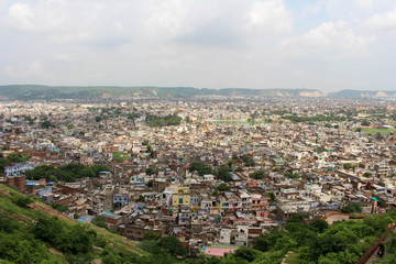 The crowded Jaipur city as seen from Nahargarh Fort on the hill.