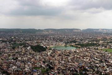 The scenery of Jaipur city as seen from Nahargarh Fort on the hill