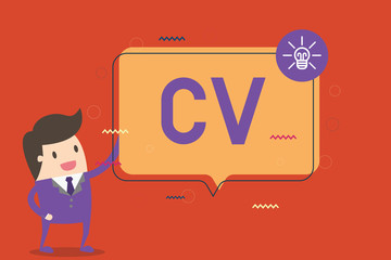 Text sign showing Cv. Conceptual photo Job seeker life experiences Education attainment skills and expertise.