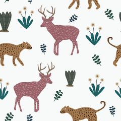 Vector cute animal pattern with hand drawn leopard, flowers, and moose deer. Childish drawing colorful funny animals with floral background. Texture wildlife theme for children textile print.
