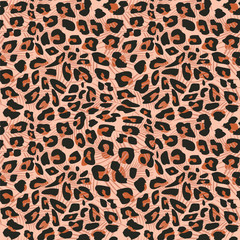Animal skin seamless pattern vector with jaguar or leopard texture background. Pink orange multicolor for fabric texitle and fashion wrapping.