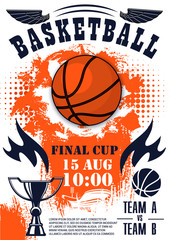 Basketball sport game poster with ball and trophy