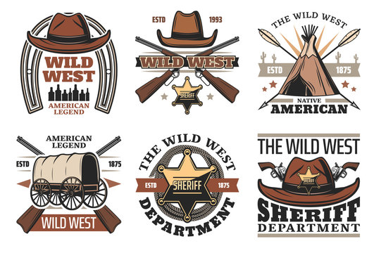 Wild West symbols with sheriff cowboy hat and guns