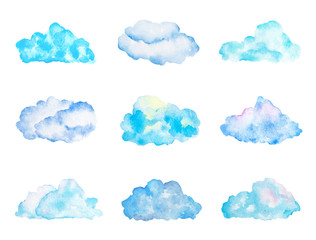 Set of Bright Light Blue Watercolor Clouds, Isolated on White, Hand Drawn and Painted
