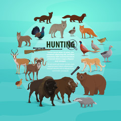 Hunting prey and gun poster with animals and rifle