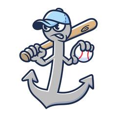 Cartoon Anchor Baseball Mascot