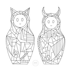 Abstract girls coloring book. Hand drawn cat and devil characters vector illustration. Stylized nesting doll outlines.