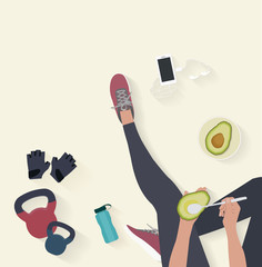 Fitness equipment flat vector background. Woman sitting on the floor and eatting avocado
