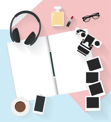 Note book with camera and photo other on the floor. Flat illustration top view the relaxing at home. Vector illustration