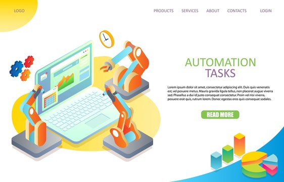 Task automation landing page website vector template
