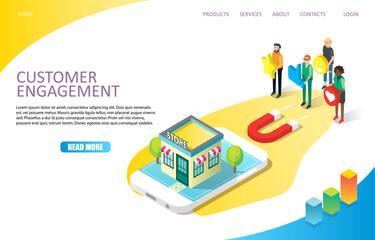 Customer engagement landing page website vector template