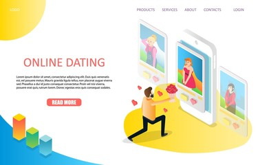 Dating online landing page website vector template
