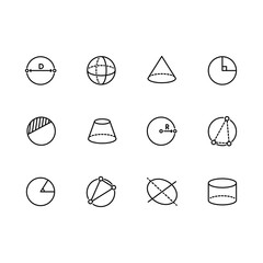Simple set geometric figures vector line icon. Contains such icons circle, sphere, cylinder, cone, pyramid, radius, degree of angle and other.