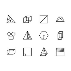 Simple set geometric figures vector line icon. Contains such square, cube, rectangle, hexagon, triangle, trapezium, angles and lines, degree of angle and other.