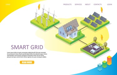 Smart grid landing page website vector template