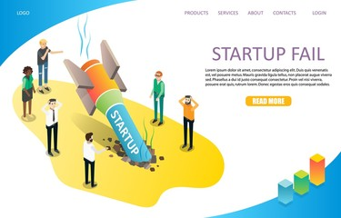 Startup fail landing page website vector template