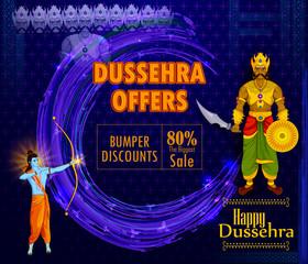 Lord Rama killing Ravana during Dussehra festival of India sale promotion advertisement background