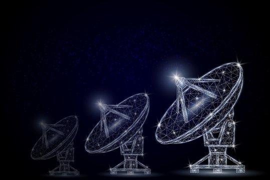 Telecommunications equipment vector polygonal art style illustration