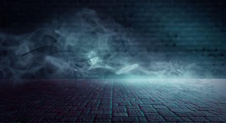 Background of an empty dark room, concrete floor, sidewalk tile, smoke, light from a spotlight
