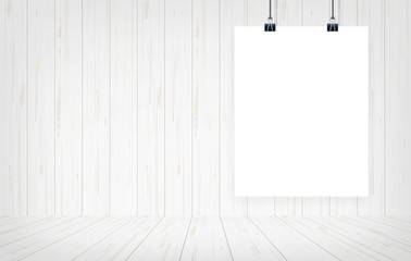 White paper poster hanging with wooden wall background. Vector.