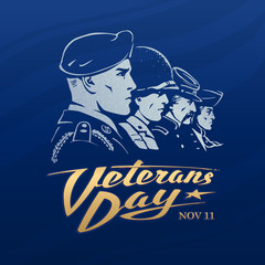 Veterans Day. Dark blue vector sticker with a faces of American soldiers. Rank of profile portraits includes airborne paratrooper, marine, rifleman and a minuteman. Golden calligraphy. Retro style.