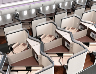 Luxury business class suites interior. Reclining seat in fully flat mode. 3D rendering image.
