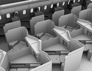 Clay rendering of luxury business class suites interior. Reclining seat in fully flat mode. 3D rendering image.