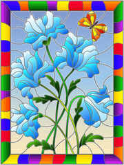 Illustration in stained glass style with blue abstract flowers and a butterfly on a blue background in a bright frame